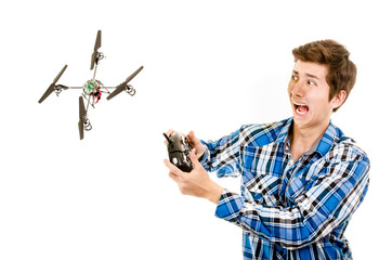 man crashing a quadcopter drone