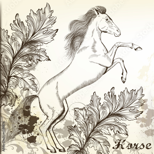 Hand drawn vector horse in vintage style