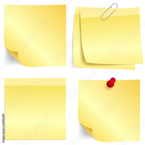 Yellow paper note set
