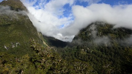 Landscape of mountains in Fiordland, New Zealand