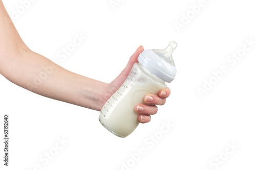 Baby bottle with milk.