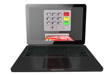 Modern Laptop with ATM and Credit Card