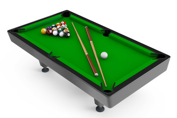 Billiard table with balls set and cues