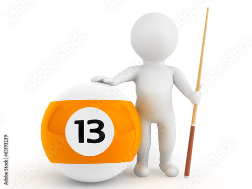 3d person with billiards ball and cue