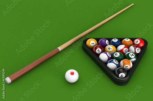 Glossy billiard balls set with cue