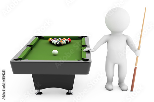 3d person with Cue near billiards table