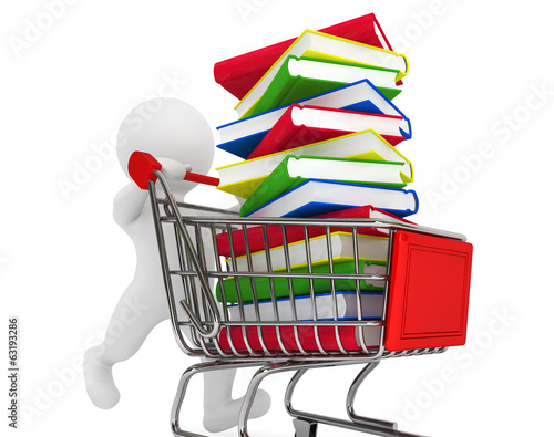 3d person pushing shopping cart with books