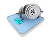 Dumbbells on Digital Bathroom Weight Scale