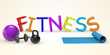 Cartoon color Fitness sign