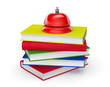 Red Service Bell standing on stack of books
