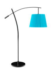 Blue balanced floor lamp
