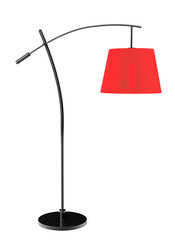 Red balanced floor lamp