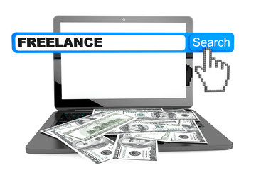 Freelance concept. Modern laptop with money and freelance search