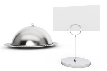 Restaurant cloche with blank calling card