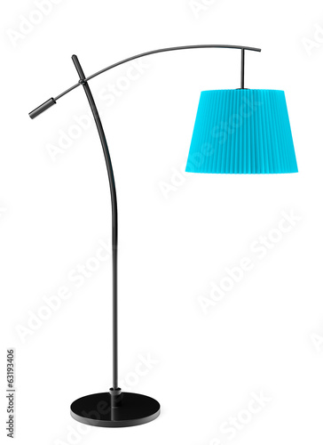 Blue balanced floor lamp