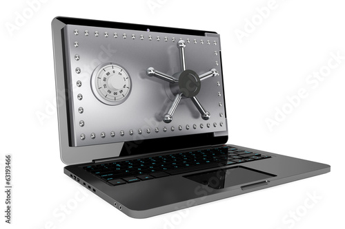Computer security concept. Laptop with Safe Door