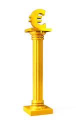 Golden Classic Greek Column with euro sign