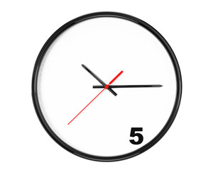 Five hours Concept. Clock with focus on 5 sign