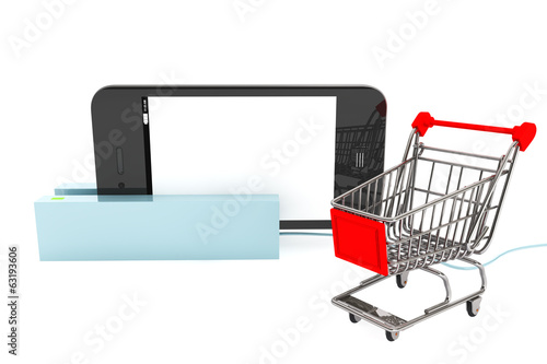 Shopping Cart with Modern Mobile phone in Card Reader