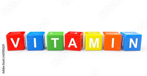 Toy cubes as Vitamin sign