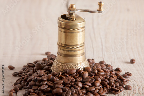 old brass coffee gringer