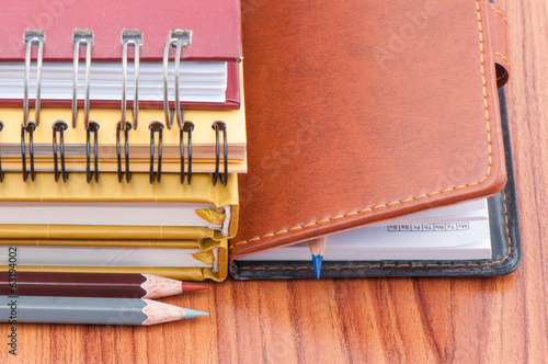 Crayon with notebook