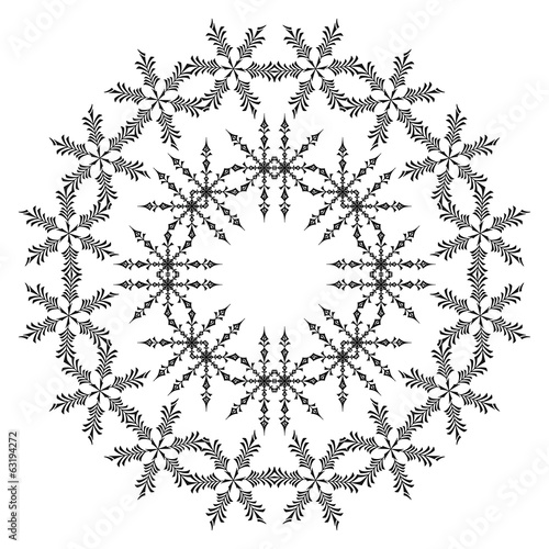 Pattern of snowflakes, contours
