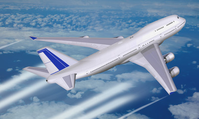 Jumbo Jet, Passagierflugzeug über den Wolken