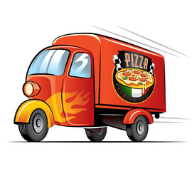 Pizza delivery. Vector illustration on a white background