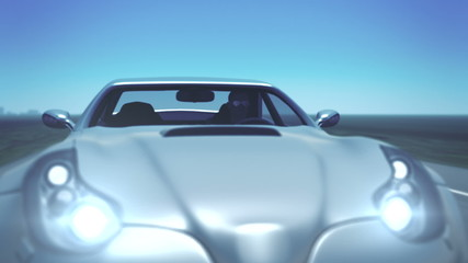 Silver Sports Car (with plate and flares)