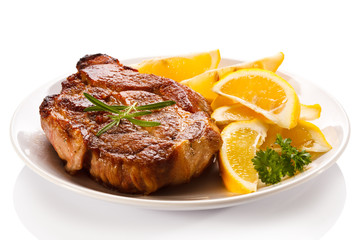 Grilled steak and lemon