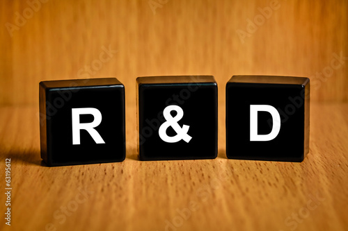 r&d or Research and development text on black block