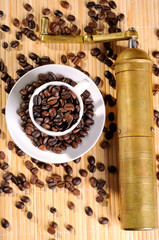 Coffee beans with grinder