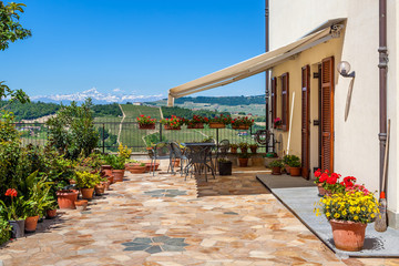 House terrace with view on hills in Italy.