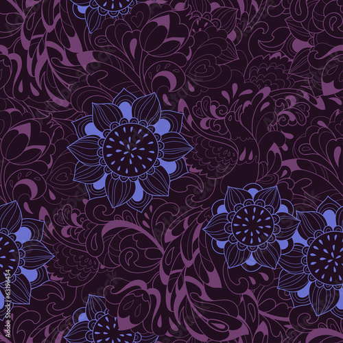 Violet pattern with bird Phoenix and sunflower
