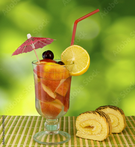 image of drink on a green background