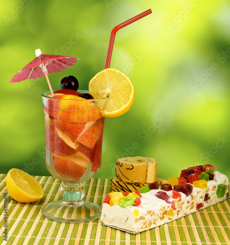 cocktail on green background