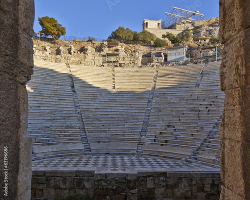 theater bleachers through the main entrance arch, Athens Greece