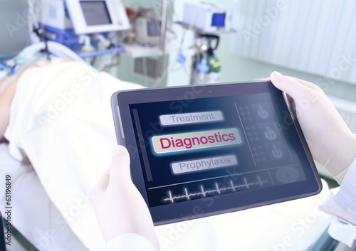 Tablet PC with medical information in a hospital ward