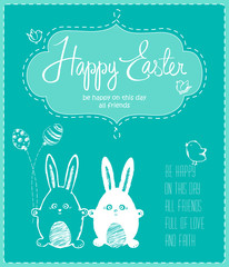 Cute happy Easter card with funny bunnies, eggs, birds, chick
