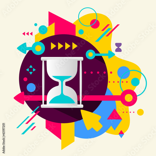Hourglass on abstract colorful spotted background with different