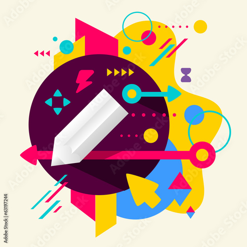 Pencil on abstract colorful spotted background with different el