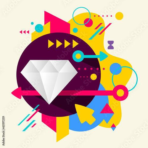 Diamond on abstract colorful spotted background with different e