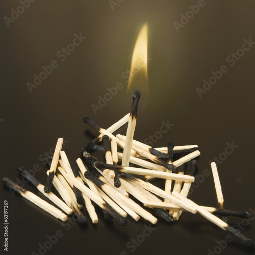 image of matches on dark background