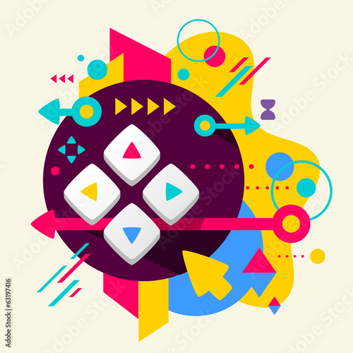 Joystick on abstract colorful spotted background with different