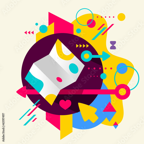 Map on abstract colorful spotted background with different eleme