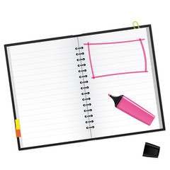 Scrapbook with pink text marker Vector Illustration