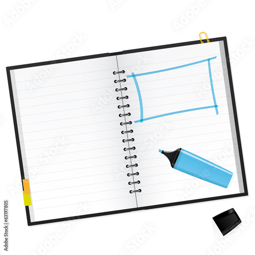 Scrapbook with blue text marker Vector Illustration