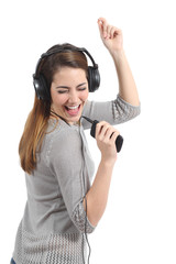 Woman dancing singing and listening to the music