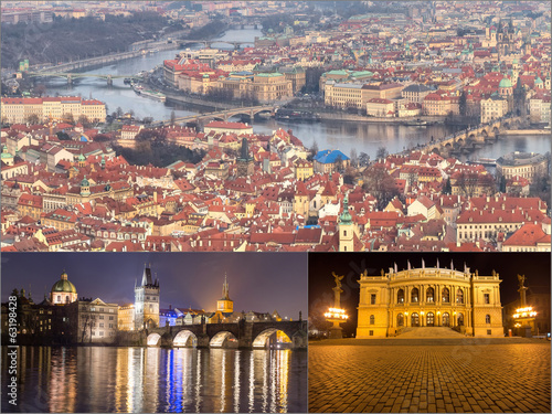 Collage landmarks of Prague